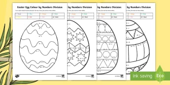Year 3 Easter Egg Division Colour by Number - Australia Easter Maths, Easter, Australia, mathematics, year 3, maths, division, colour by numbers,