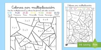 Colorea por multiplicación Ficha de actividad