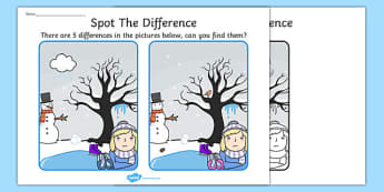 Winter Spot the Difference Activity - seasons, activities, games
