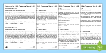 Scanning for high frequency words 1 10 Activity Sheets - CfE Literacy, reading comprehension strategies, high frequency words, scanning, worksheets, Scottish
