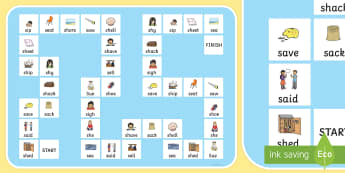 'sh' and 's' Minimal Pair Board Game - speech sounds, minimal pairs, articulation, phonology, dyspraxia, fricatives, sh, s
