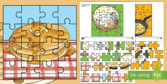 Shrove Tuesday Jigsaw Activity Sheets - Australian Requests, shrove tuesday jigsaw puzzle, pancake day jigsaw, events, shrove tuesday, panca