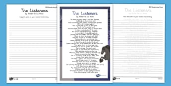 The Listeners Handwriting Poem Pack - the listeners, handwriting, poetry, poem pack