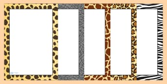 Safari Animal Pattern Themed Portrait Page Borders - safari, on safari, safari page borders, safari animal pattern page borders, animal pattern page border