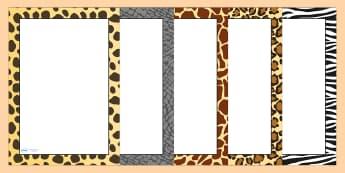 Safari Animal Pattern Themed Portrait Page Borders - safari, on safari, safari page borders, safari animal pattern page borders, animal pattern page border