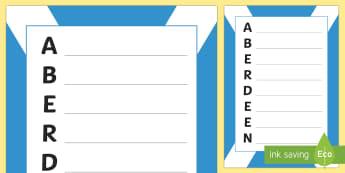 Aberdeen Acrostic Poem - CfE Social Media Requests, Aberdeen, Scottish cities, Scotland, acrostic poem, poetry,Scottish