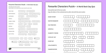 Favourite Characters Puzzle - World Book Day, Puzzles, Games, Reading, Authors, Characters, International Children's Book Day