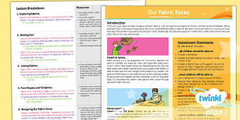 PlanIt - Design and Technology KS1 - Our Fabric Faces Planning Overview