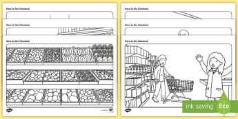 Race to the Supermarket Colouring Pages - ROI, race to the Supermarket, Colouring Pages, Aistear, Supermarket,Irish