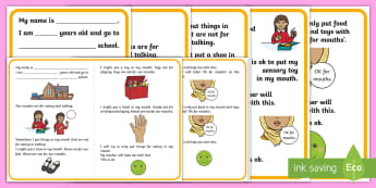 What Can Go in My Mouth? Social Stories - social story, mouths, putting things in mouths, sensory seeking, oral sensory seeking, autism,