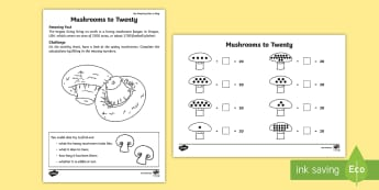 Mushrooms to Twenty Activity Sheet - Amazing Fact Of The Day, activity sheets, powerpoint, starter, morning activity, April, number bonds