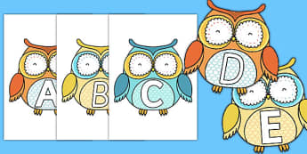 A-Z Alphabet on Cute Owls - a-z, alphabet, letters, cute owls, cute, owls