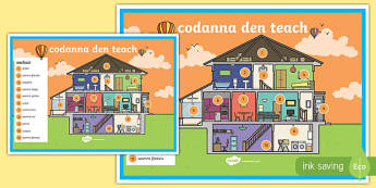 Codanna den teach Poster Gaeilge - gaeilge, parts, house, parts of a house, poster, display