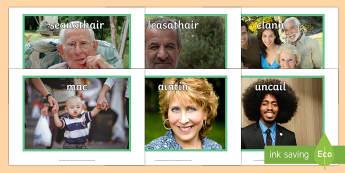My Family Display Photos Gaeilge - my family, display photos, display, photos, family units, units, family, families, gaeilge