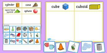 3D Shape Sorting Activity - 3D shapes, shapes, sorting, 3D, match