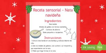 Receta sensorial comestible: Nata navideña - nata, navidad, experimento, experiencia, pasta, moldear, sensorial, sentidos,Spanish