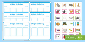 Workstation Pack: Weight Ordering (Four Pictures) Activity Pack - Workstation Pack, TEACCH, weight, heavy, light, maths shape size and measure