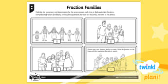 PlanIt Y4 Fractions Equivalent Fractions Home Learning Tasks - Equivalent, equivalent fractions, equal fractions, fraction families, families of fractions