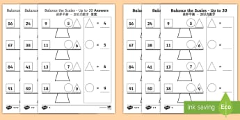 Balance the Scales Differentiated Activity Sheets English/Mandarin Chinese - worksheet, measure, weigh, Addition, subtraction, balance, ESL, EAL