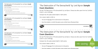 GCSE Poetry Exam Questions Pack to Support Teaching on 'The Destruction of the Sennacherib' by Lord Byron - GCSE Poetry, Lord Byron, George Gordon Byron, The Romantics, Romantic Poetry, anapaestic tetrameter,