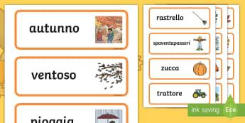 Autunno Parole Illustrate - autunno, stagioni, stagionali, parole, vocaboli, illustrazioni, illustrate, italiano, italian, mater