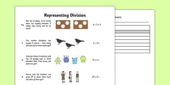 Representing Division Worksheet - represent, division, worksheet, representing
