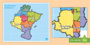 Tapiz de Bee Bot: Las comarcas de Navarra - Mapas, provinicias, mapas mudos, mapas en blanco, las ciudades de españa, comarcas, concejos, comun