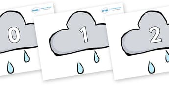 Numbers 0-31 on Weather Symbols (Rain) - 0-31, foundation stage numeracy, Number recognition, Number flashcards, counting, number frieze, Display numbers, number posters