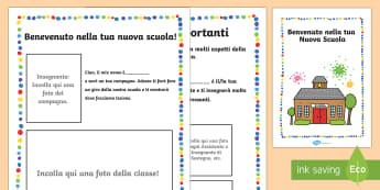 Benvenuto nella Tua Nuova Scuola Libretto - libretto, nuova, scuola, benvenuto, introduzione, italiano, italuian, scuola, lezione, programma, ma