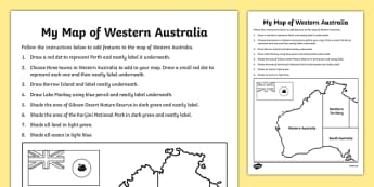 My Map of Western Australia Activity Sheet - australia, Geography, map, mapping, Western Australia, Perth, shading, labelling, states, territories, Australia, worksheet