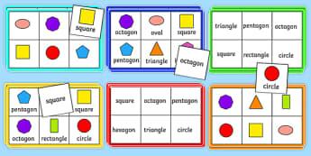 2D Shape Bingo - 2D shapes, Shape Bingo, Learning Shapes, Shape Game, Naming Shapes, Shape Properties