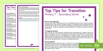 Primary 7 to S1 Top Tips - transition, end of year, new class, evaluations, targets, goals