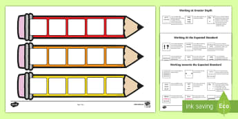 NEW End of KS2 Expectations Cards - Editable Writing Target Cards Pencils - writing targets, writing target cards, editable, pencils, ed