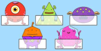 2D Shape Aliens Self Registration Labels - 2d shape, aliens, labels