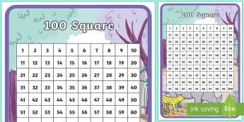 Ronald the Rhino Themed 100 Square - Ronald the Rhino, rhyming, pattern, story, jungle, Africa, rhino,
