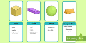 3D Shape Properties Matching Cards - 3D Shape Properties  Display Posters - numeracy, shapes, 3d, 3D shapes, display signs, 3D shapes pos