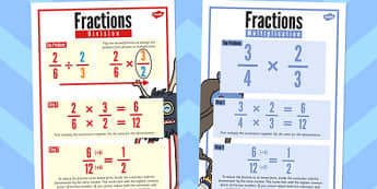 Fractions Multiplication and Division Poster Pack - display, pack