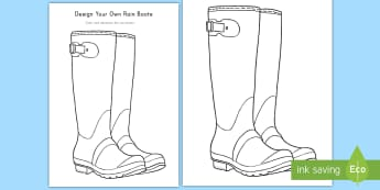 Design Your Own Rain boots Activity Sheet - Weather, Coloring, Activity Sheet, Weather coloring activity sheet, worksheet, rain boots, rain, Pre