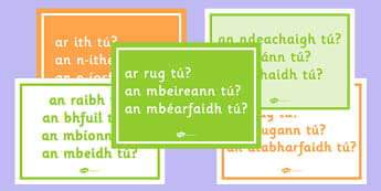 Gaeilge: Na Briathra Neamhrialta Questions Posters - briathra, neamhrialta, question, posters, display
