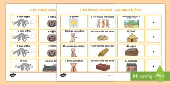 I Tre Piccoli Porcellini Costruisci le Frasi Attività - i, tre, piccoli, porcellini, costruisci, le frasi, italiano, italian, materiale, scolastico, grammat