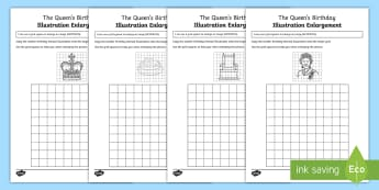 The Queen's Birthday Illustration Enlargement Activity Sheet - ACMMG115,transformation,  enlarge illustration, enlarge image, year 5 maths ,Australia