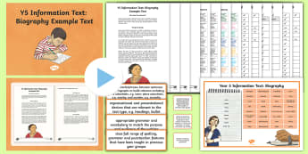 Y5 Information Text: Biography Example Text - Example Texts Y5, genre, WAGOLL, exemplar, non-fiction, text, text features, SPaG, GPS, example, exe