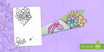 Bouquet di Fiori di Carta per la Festa della Mamma Attività - festa, della, mamma, madre, bouquet, fiori, carta, piega, foglio, origami, italiano, italian, colora