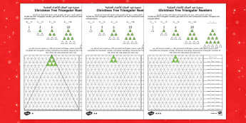 Christmas Tree Triangular Numbers Differentiated Maths Activity English/Arabic  - Christmas N.I. triangular numbers, sequences, patterns, number sequence, number relationships, trian