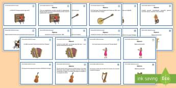 Cartes de défis : La Fête de la Musique - La Fête de la Musique, KS2, cycle 3, Music Festival, 21st June, 21 juin, cartes, défi, questions,