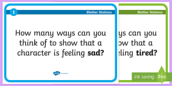 Show Don\'t Tell Blether Stations Activity - CfE Writing,Show don't tell,Character descriptions,emotions,descriptive writing.,Scottish
