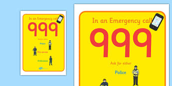 People Who Help Us Call 999 Poster - people who help us, people who help us poster, people who help us emergency poster, what to do in an emergency