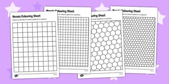 Mosaic Colouring Sheets - mosaic worksheets, deign a mosaic, mosaic template, mosaic shapes templates, mosaic grid templates, ks2 history, art and design