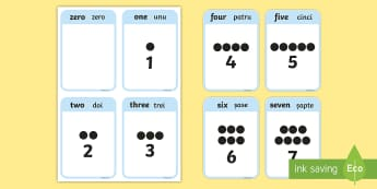 0 to 10 Number Flashcards English/Romanian - EAL, 0 to 10 Number Flashcards - 0-10, flashcards, visual aid, maths, Numbers to 10, count, flash ca