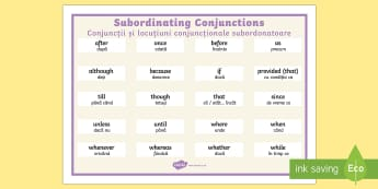 Subordinating Conjunctions Word Mat English/Romanian